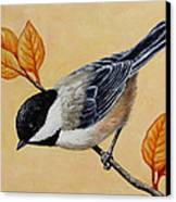 Chickadee And Autumn Leaves Canvas Print by Crista Forest