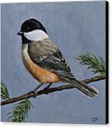 Chickadee Charm Canvas Print by Crista Forest