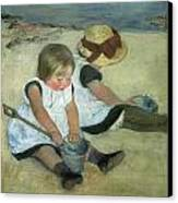 Children At The Seashore Canvas Print by Mary Cassatt