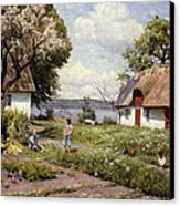 Children In A Farmyard Canvas Print by Peder Monsted