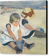 Children Playing On The Beach Canvas Print