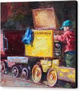 Child's Play - Gold Mine Train Canvas Print by Talya Johnson