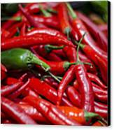 Chili Peppers At The Market Canvas Print by Heather Applegate