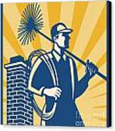 Chimney Sweeper Cleaner Worker Retro Canvas Print