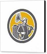 Chimney Sweeper Worker Retro  Canvas Print by Aloysius Patrimonio