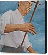 Chinese Citicen Barack Obama Is Playing Erhu A Chinese Two Stringed Musical Instrument Canvas Print by Tu Guohong