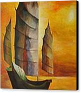 Chinese Junk In Ochre Canvas Print by Tracey Harrington-Simpson