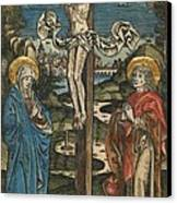 Christ On The Cross With Mary And Saint John Canvas Print by German School