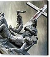 Christ On The Cross With Mourners Saint Joseph Cemetery Evansville Indiana 2006 Canvas Print