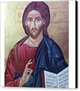 Christ Pantocrator-byzantine Icon Canvas Print by Janeta Todorova