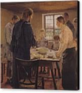 Christ With The Peasants Canvas Print by Fritz von Uhde