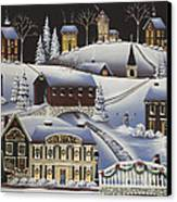 Christmas In Fox Creek Village Canvas Print by Catherine Holman
