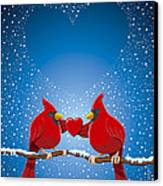 Christmas Red Cardinal Twig Snowing Heart Canvas Print by Frank Ramspott