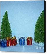 Christmas Trees With Red And Blue Presents Canvas Print