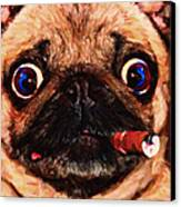Cigar Puffing Pug - Painterly Canvas Print by Wingsdomain Art and Photography