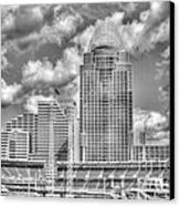 Cincinnati Ballpark Clouds Bw Canvas Print by Mel Steinhauer