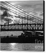 Cincinnati Suspension Bridge Black And White Canvas Print by Mary Carol Story