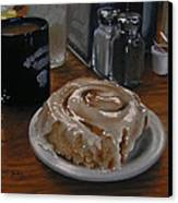 Cinnamon Roll At Wesners Cafe Canvas Print by Timothy Jones