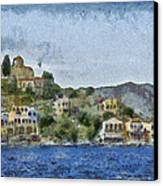 City By The Sea Canvas Print by Ayse Deniz