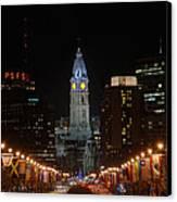 City Hall At Night Canvas Print by Jennifer Ancker
