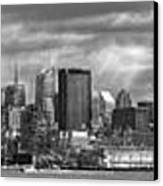 City - Skyline - Hoboken Nj - The Ever Changing Skyline - Bw Canvas Print by Mike Savad