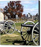Civil War Cannons At Gettysburg National Battlefield Canvas Print by Brendan Reals