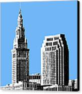 Cleveland Skyline 1 - Light Blue Canvas Print by DB Artist
