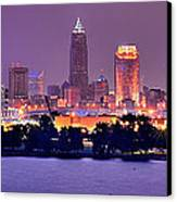 Cleveland Skyline At Night Evening Panorama Canvas Print by Jon Holiday