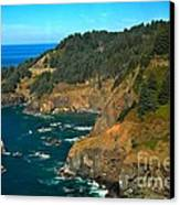 Cliffs At Cape Foulweather Canvas Print by Adam Jewell