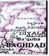 close up of Baghdad on map-Iraq Canvas Print