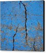 Close Up Of Cracks On A Blue Painted Canvas Print by Perry Mastrovito