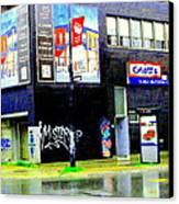 Closing Time Montreal Factory Glatts Produits Quebec Meats Graffiti Art City Scenes Carole Spandau Canvas Print by Carole Spandau