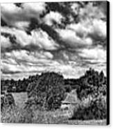 Cloudy Countryside Collage - Black And White Canvas Print by Kaye Menner