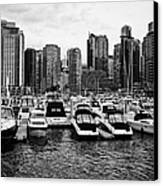 coal harbour marina and high rise apartment condo blocks in the west end Vancouver BC Canada Canvas Print