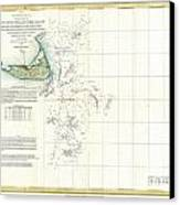 Coast Survey Map Of Nantucket And The Davis Shoals Canvas Print by Paul Fearn