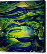 Cobalt Blue And Yellow Glass Macro Abstact Canvas Print