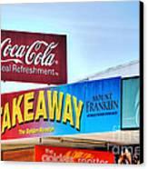 Coca-cola - Old Shop Signage Canvas Print by Kaye Menner