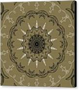 Coffee Flowers 3 Olive Ornate Medallion Canvas Print by Angelina Vick