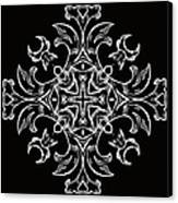 Coffee Flowers 7 Bw Ornate Medallion Canvas Print by Angelina Vick