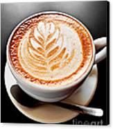 Coffee Latte With Foam Art Canvas Print by Elena Elisseeva