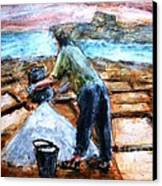 Collecting Salt At Xwejni Gozo Canvas Print by Marco Macelli