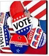 Collection Of Vote Badges Canvas Print by Joe Belanger