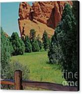 Colorado Garden Of The Gods From The Trail Canvas Print by Robert D  Brozek