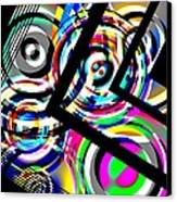 Colored Lines And Circles Art Over Black Canvas Print by Mario Perez