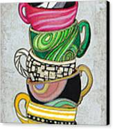 Colorful Coffee Cups Mugs Hot Cuppa Stacked II By Romi And Megan Canvas Print