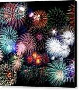 Colorful Fireworks Of Various Colors In Night Sky Canvas Print