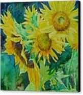 Colorful Original Sunflowers Flower Garden Art Artist K. Joann Russell Canvas Print by Elizabeth Sawyer
