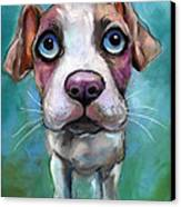 Colorful Pit Bull Puppy With Blue Eyes Painting  Canvas Print by Svetlana Novikova