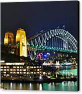 Colorful Sydney Harbour Bridge By Night Canvas Print by Kaye Menner