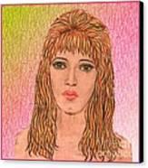 Coloured Pencil Self Portrait Canvas Print by Joan-Violet Stretch